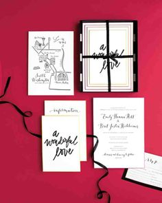 """The letterpressed suite by La Happy featured custom calligraphy and hand-painted edges in the wedding's color palette. Mailed in a black box lined with striped paper, it also introduced the event's unofficial motto—""""a wonderful love""""—and came with an illustrated map of Seattle."""