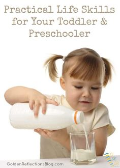 Need ideas on how to include practical life skills in your toddlers day? Check out this series on Tot-School & Preschool Ideas! | www.GoldenReflectionsBlog.com