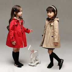 >> Click to Buy << 2017 new children's clothing girl spring and autumn princess coat solid color medium-long single breasted trench babys outerwear #Affiliate