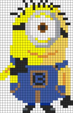 Full Minion perler bead pattern as quilt inspiration. Beaded Cross Stitch, Cross Stitch Charts, Cross Stitch Embroidery, Embroidery Patterns, Cross Stitch Patterns, Hand Embroidery, Knitting Patterns, Kandi Patterns, Pearler Bead Patterns