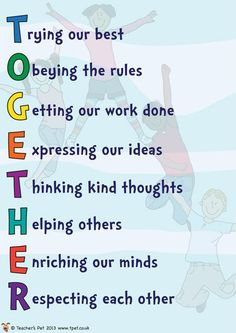 TOGETHER Poster - how to work together to create a happy classroom.