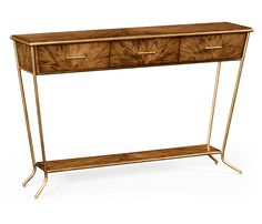 Argentinian walnut veneered tapering console table