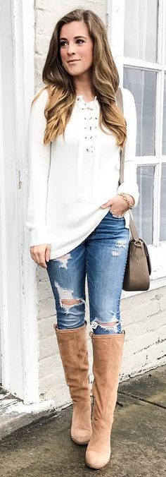 #winter #fashion /  White Top / Ripped Skinny Jeans / Camel OTK Boots