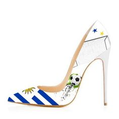 3247538f2ba 2018 Football Lover Uruguay Design Pointy Toe Stiletto Heels Pumps for  Party