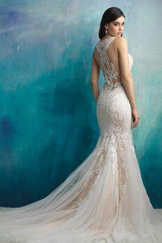 Beautiful Allure Wedding Gown, with illusion back! Found at Lili Bridals in Tarzana, CA! Perfect Wedding, Dream Wedding, Wedding Stuff, Allure Wedding Gowns, Bridal Dresses, Bridesmaid Dresses, Bridal Collection, Groom And Groomsmen Attire, Wedding Attire