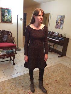 Laxmi's hand knit dress. She did not use a pattern!!