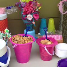 Kids party idea with sand buckets