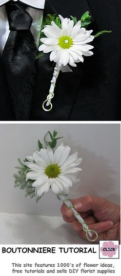 FREE TUTORIALS http://www.wedding-flowers-and-reception-ideas.com/make-your-own-wedding.html How to Make a Daisy Boutonniere - Easy Flower Tutorial with step by step pictures and explanations. Website tutorials written by a professional wedding florist, with tips and hints on saving money.