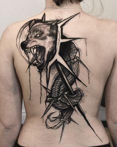 Heres a tattoo from a few days ago. The Dacian Draco. Hope you enjoy! Wolf Tattoos, Forearm Tattoos, Tatoos, Body Art, Skull, Draco, Tattoo Ideas, Sketch, Animals