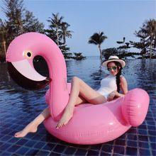 ENVÍO LIBRE 60 pulgadas gigante inflable flamingo flotador de la piscina de color rosado montar-en el anillo de natación piscina juguetes grandes del flamenco balsas de agua(China (Mainland))