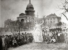 Texas State Capitol and Goddess of Liberty — Austin, Texas — Vintage photo courtesy Texas State Library and Archives.