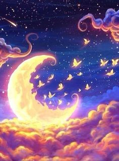 Moon-fairy-flying-clouds-BG-glowing-fantasy-theme- - Moon light and stars night background with trees nature art images . Galaxy Wallpaper, Wallpaper Backgrounds, Beautiful Moon, Beautiful Images, Art Graphique, Moon Art, Anime Scenery, Stars And Moon, Sky Moon