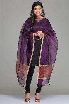 Purple Tussar Silk Dupatta With Gold Zari Border And Striped Orange Ends