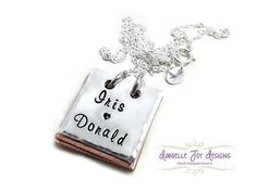 Hand Stamped Personalized Book Necklace  Our by DanielleJoyDesigns