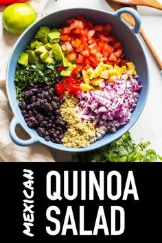 The most delicious Mexican Quinoa Salad of all times. Healthy avocado, protein-rich black beans, a boat load of cilantro and a little heat make this Mexican quinoa recipe more than complete. #quinoa #mexican #salad #heatlhy