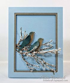 """KC Impression Obsession Large Bird on Branch  Card size:  5.5"""" x 4.25  Creating clean and simple cards is not so simple.  The challenge is to have a focal subject interesting enough to stand against a very plain background."""