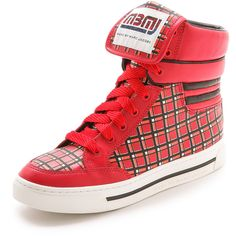 Marc By Marc Jacobs Cute Kicks High Top Sneakers - Red Multi ($98) ❤ liked on Polyvore featuring shoes, sneakers, red trainers, red leather shoes, red leather sneakers, high top shoes and high-top sneakers
