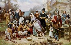 "Painting: ""The First Thanksgiving,"" by Jean Leon Gerome Ferris, c. 1912-1915. Credit: U.S. Library of Congress, Prints and Photographs Division. Read more on the GenealogyBank blog: ""Days of Thanksgiving Celebrated by Our Ancestors"" https://blog.genealogybank.com/days-of-thanksgiving-celebrated-by-our-ancestors.html"