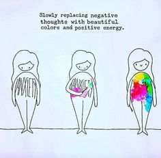 Positivity Slowly replacing negative thoughts with beautiful colors and positive energy. Negative Thoughts, Positive Thoughts, Positive Vibes, Body Positive Quotes, Happy Thoughts, Motivacional Quotes, Time Quotes, Yoga Quotes, Short Quotes