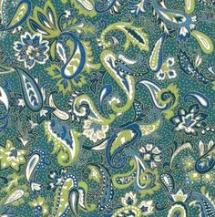 Chiyogami or yuzen paper  teal and green by pebblestonepapery