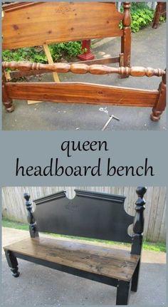 My Repurposed Life queen armless black headboard bench