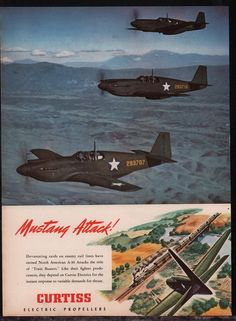 1944 WW II North American P-51 MUSTANG A-37 WII WW2 Curtiss Propellers AD
