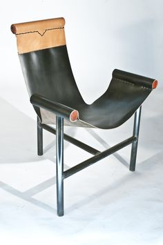 Taylor Forrest; Chromed Metal, African Redwood and Leather 'Tri Chair', 2010s.
