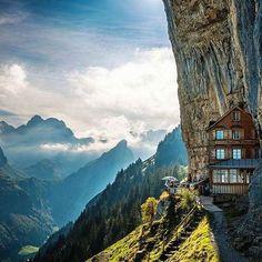 The Äscher Cliff Restaurant is an astonishing establishment nestled between steep-sided valleys and spectacular mountain peaks of Switzerland.