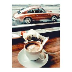 coffee, wooden coffee bar, muffin, vintage Porsche