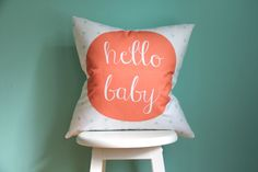 hello baby coral mint pillow cover por iviebaby en Etsy