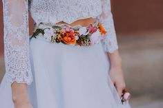 Richly decorated flower belt for special occasions or everyday use. Belt is made of textile flowers, leaves, grass, satin ribbon and other trinkets intended for arranging. Ideal for boho wedding. In orange tones...  Photo: Veronica photography    #ad #affiliate