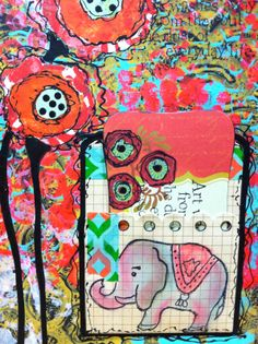 Lucy's Lampshade: Mixed media, art journaling, gelli prints on black paper.