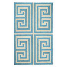 Trina Turk Greek Key Blue Hook Rug #zincdoor #greekkey