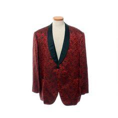 Vintage 60s Mens Red Floral Brocade Tuxedo Jacket 1960s Satin