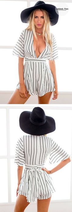 Let's Celebrate // This pinstripe plunge romper is a fun yet swanky piece piece that can be paired with heels or sneakers, depending on your mood.
