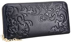 Heshe Women's Fashion Long Wallet Zippered Around Clutch Card Holder Money Clip Case Organizer (Black-E) *** See this awesome image @