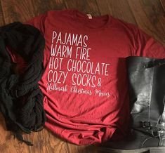 PJs Warm Fire Hot Chocolate Cozy Socks and Christmas Movies Christmas Movie Shirt Christmas Tee - Fall Shirts - Ideas of Fall Shirts - PJs Warm Fire Hot Chocolate Cozy Socks and Hallmark Fall Shirts, Cute Shirts, Funny Shirts, Sweater Weather, Cozy Socks, Movie Shirts, Vinyl Shirts, Personalized T Shirts, Diy Shirt