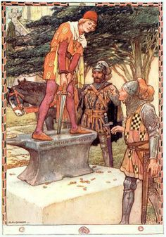 Arthur A. Dixon - The Youth Pulled it out Easily - King Arthur and the Knights of the Round Table by Doris Ashley - 1921