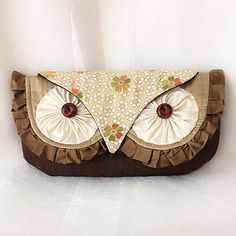 Silk Owl Clutch Bag- Luxury Silk with Vintage Kimono and Quilting Woodland Hoot-With Wristlet Strap- Made To Order-LAST ONE