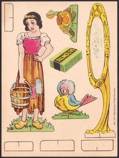 Snow White Card #12    Issued in Belgium by Palmolive Soap, this Snow White paper doll cut-out set of 12 collector cards dates from circa...