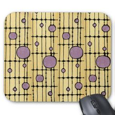"""Suncatcher Mouse Pad http://www.zazzle.com/suncatcher_mouse_pad-144105784133509212?rf=238212246456729739  """"Suncatcher"""" ©2014 Amy-Elyse Neer Art Deco stained glass style design in gold and amethyst  9.25"""" x 7.75"""" – Perfect for any desk or work space. Quality, full-color printing. Durable cloth cover is dust and stain resistant. Non-slip backing."""