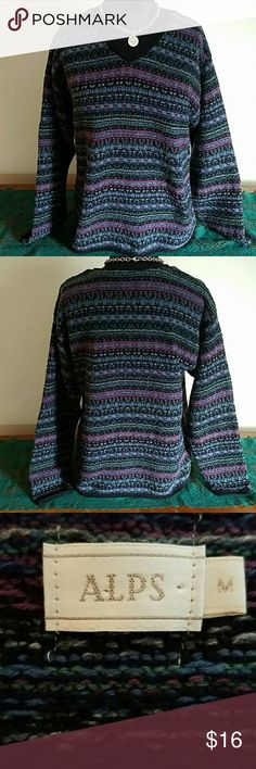 Beautiful Alps Sweater Beautiful Alps Sweater. Slight V-Neck. Lovely Colors. Great Sweater with Jeans & Boots! Very Nice Quality.  Size Medium. Relaxed Fit. Great Condition! Alps Sweaters V-Necks
