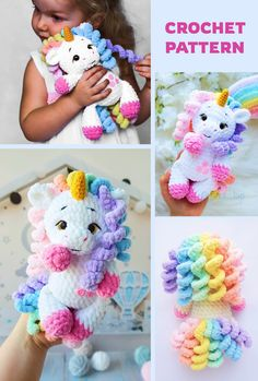 Crochet Unicorn Pattern Free, Crochet Amigurumi Free Patterns, Easy Crochet Patterns, Crochet Dolls, Cute Crochet, Crochet Crafts, Crochet Projects, Crochet Disney, Stuffed Animal Patterns