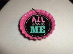 All About Me Bottle Cap Pendant by jaztique on Etsy