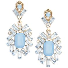 Cara Faceted Chandelier Earrings ($16) ❤ liked on Polyvore featuring jewelry, earrings, accessories, blue, facet jewelry, post back earring, earring jewelry, plastic earrings and glitter jewelry