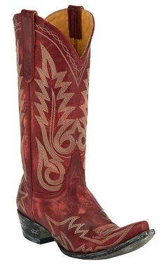 Old Gringo® Ladies Nevada Red Distressed Fancy Stitched Snip Toe Cowboy Boots