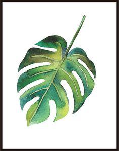 Tropical Print Watercolor Leaf Minimalist Print Wall Decor Digital Print Botanical Poster Tropical L Tropical Art, Tropical Leaves, Watercolor Leaves, Watercolour Painting, Plant Illustration, Watercolor Illustration, Plant Painting, Leaf Art, Art Drawings