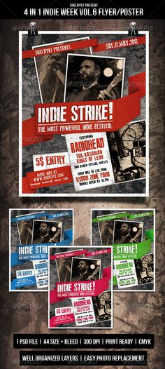 Indie Week Flyer / Poster Vol.6 - 4 in 1 - Events Flyers