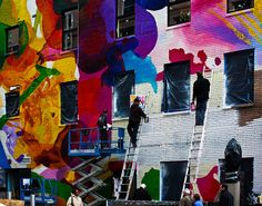 35th and 6th avenue NYC, Artists painting the Desigual wall!