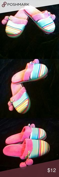 Victoria's Secret Slippers Colorful Victoria's Secret slippers. Size large in great condition. 100% cotton.  Any questions please feel free to ask. Offers welcome. Happy Poshing! Victoria's Secret Shoes Slippers